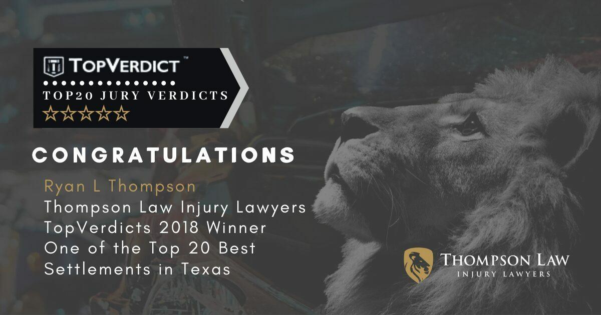 Ryan Thompson has been named to TopVerdict's Top 20 Settlement List