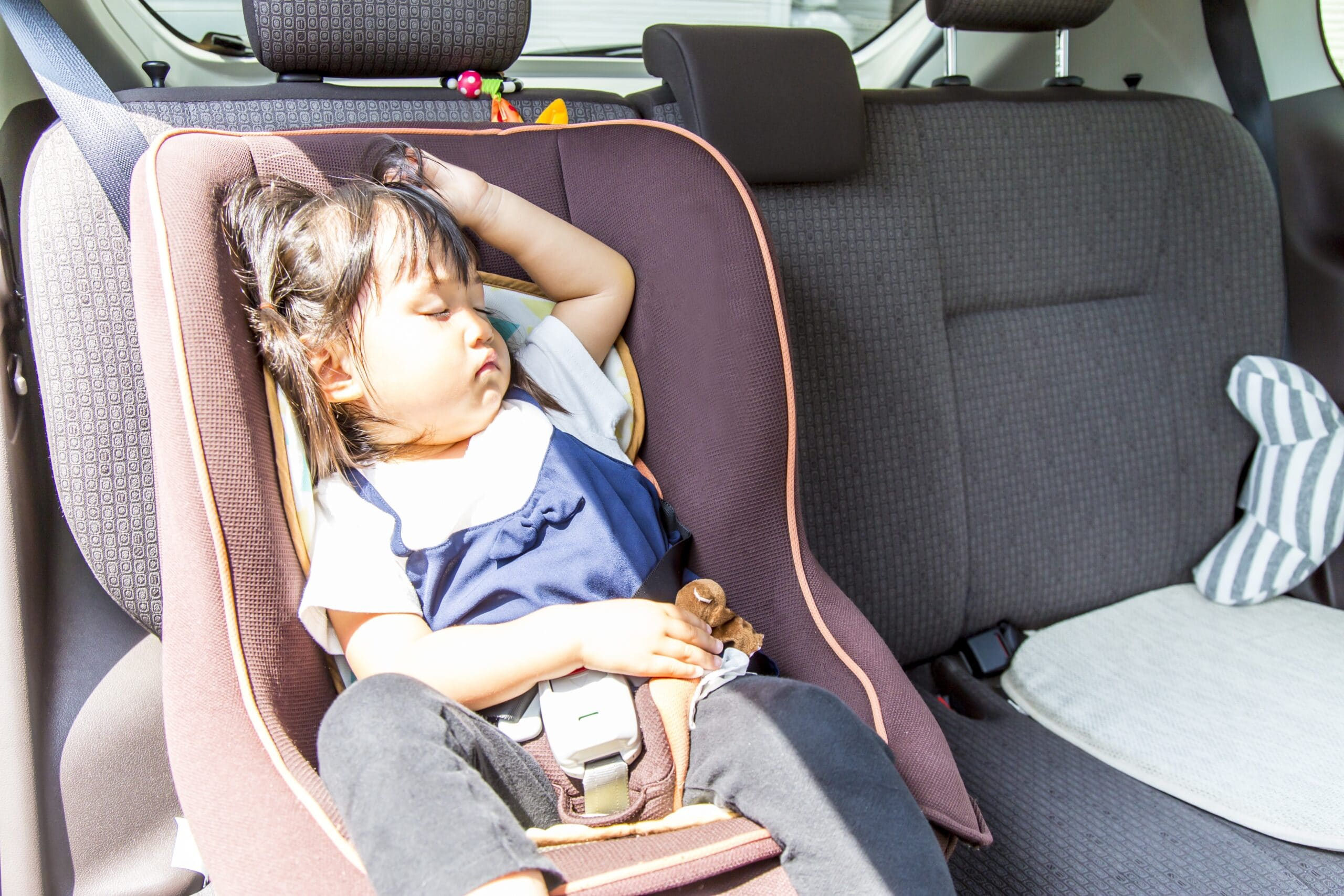 Hot car safety young child in back seat of car